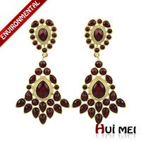 New Arrival Vintage Women Gold Plated Dark Resin Dangle Statement Link Drop Earring Jewelry