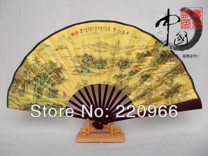 freeshipping , spun silk folding hand fan ,Chinese characteristic style fan,art handicraft bamboo fan for decoration,souvenir(China (Mainland))