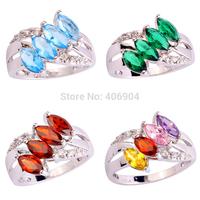 Wholesale Noble  Marquise Cut Blue Topaz & Emerald Quartz & White Topaz 925  Silver Ring Size 6 7 8 9 10 11 Charming JEWELRY