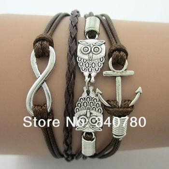 Colorful Owl, Anchor, Infinity Bracelets, Nautical Bracelets, Karma Bracelets, Antique silver charms bracelets Free Shipping