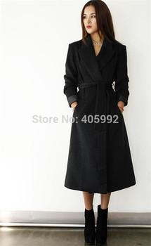 Длинный overcoat slim figure turn-down Воротник sashes design plus Размер Шерсть ...