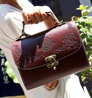 New Hot Retro Vintage carved Engraving Flower box-type women PU handbag,europe style shoulder bag,sling Ladies Messenger bags B4