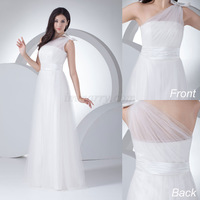 New Arrival Simple Customized A-line One Shoulder Tulle With Pleats And Bowknot Bridal Wedding Dresses Plus Size