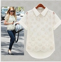 Sent free of charge, and double.Women's summer wear new hollow out organza lace chiffon shirt with short sleeves