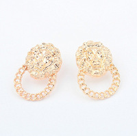 A2168 Hot Sale New Style Gold Lion Head Stud Earrings Lionhead Studs Fashion Celerity Jewelry