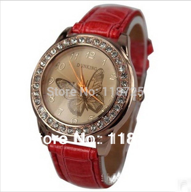 W5 LZ Jewelry Hut Wholesale Fashion 11 Colors Leather Rhinestone Butterfly Women Dress Watches(China (Mainland))