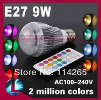 16 Coloful 4x3w 12W 10w 9w 5w GU10+ E27+GU5.3+B22 socket RGB Remote Controller led light lamp CE free shipping