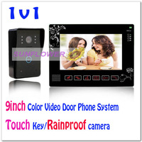 "New 9"" Video Door Phones Intercom System Door Bell Home Security With Waterproof Camera (1 camera+1 LCD screen)"
