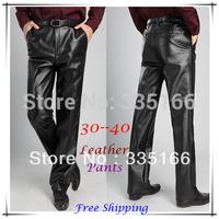 New Arrival Men Faux Leather Pants Black,   Warm Flocking Loose PU Business/Leisure Trousers 30--45 Plus Size   #JM09459