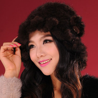 Knitted real mink fur hat ladies' Cloche hat elegant cap ladies' headgear 13613