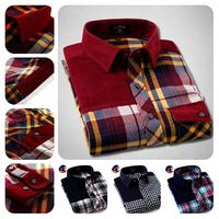 2014 Hot Sale Slim Fit Contrast Shirt Clothes Men/Free Shipping Fashion Black Corduroy Shirt/Promotion Cotton Plaid Shirt Men
