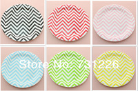 1080 pcs Eco-friendly 9 Inch Chevron Black Green Pink Red Yellow Paper Plates Best for Christmas Birthday Party  Free Shipping