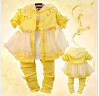 2013 New Autumn Clothing Set For Baby Girls 3Pcs: Coat  +hoodies shirt + pants 3pcs for one set children dress suits (GCT-268 )