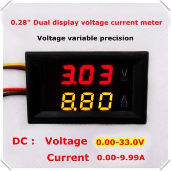 NEW 0.28 Digital Ammeter Voltmeter Car voltage current meter DC 0.00-33.0V/10A dual LED Display color Red+Yellow[4pcs/lot]
