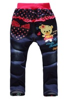 new,2014,1pcs/1lot,kids clothing,100% cotton denim kid pants baby girls jeans,pink minnie cartoon clothing,free shipping