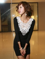 Free Shipping 2014 new arrival crochet lace collar long t-shirt style slim sexy black mini dress - CAd241