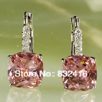 Elegant Pink Topaz  Dangle Hook 925 Silver Earring Free Shipping E-003