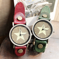 2013 New Listing Pentagram Vintage Leather Watch Fashion Watch Men / Women Quartz Watch 6 Colors