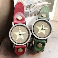 2013 New Listing Pentagram Vintage Leather Watch Fashion Watch Men / Women Quartz Watch 6 Colors