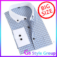 XXXXXXL Men's Big Size 2013 New Brand Long Polo Shirt For Mens Plaid Grid & Striped Shirts Clothes New Fashion
