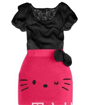 BD021 2013 New Sale baby clothes set Hello Kitty girl 2 pcs suit short sleeve t-shirt+skirt summer children clothing set Retail