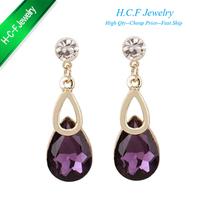 Free shipping Christmas gift fashion 18K GP jewelry Tears drop crystal stud earrings wholesale high-grade fashion earrings