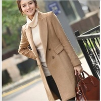 Sale 2014 winter and autumn double breasted medium-long woolen outerwear wool coat women's overcoat slim trench plus size S-XXL