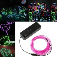 HOT 2m 2pcs 9 ColorsFairy Light Rope String Lighting Neon LED EL Wire Christmas Party Car decorate Free Shipping