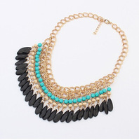 Free Shipping ! 2013 Fashion Jewelry Colorful Water Drop Statement Necklace Blue/Orange/Red Colors   Min Order $10 (Mix Order)