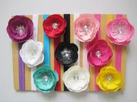 "10pcs/lot free shipping 3"" Ruffle Ranunculus flowers with 1.5cm shimmery soft headband baby headband hair accessory"