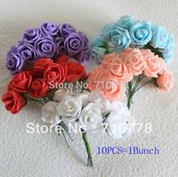 10Colors DIA 2cm PE mini artificial rose flower foam flower bouquet diy wedding candy box cartoon doll hair accessories material