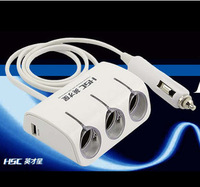 High-Quality New 3 Way Car Cigarette Lighter Socket Splitter Power Adapter Charger 12V 24V USB+LED Light 120W Power