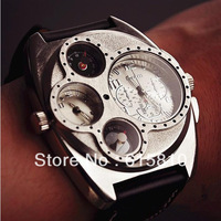 (WOL021) Big and small 2 hand surface HOT luxury Military quart watch for men leather wristwatch good quality