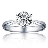 Fashion Love's 14K White Gold 0.50 Carat Charles&Colvard Lab Created Moissanite Engagment Women Ring Free Shipping!
