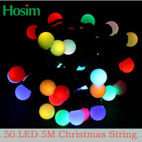 220V RGB 50 LED 5M Colorful Christmas Decoration on Christmas tree Christmas Supplies LED String Lights Free Shipping!