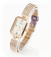 Min. Order $8 free shipping fashionable rose gold plated crystal inset rectangle watch face quartz wrist watch