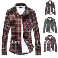 New Arrival Grid Men Shirt Cotton Male Plaid Shirt Men's Shirts Free Shipping