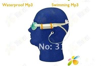 new arrival Real 8GB Swimming Diving Water IP*8 Waterproof MP3 Player FM Radio Earphone 30pcs/lot Free Shipping