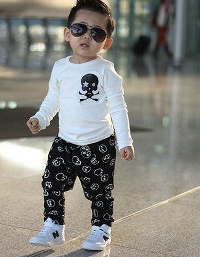 boy skull trousers 2013 new black hot Hitz Boys printing skull pants(China (Mainland))