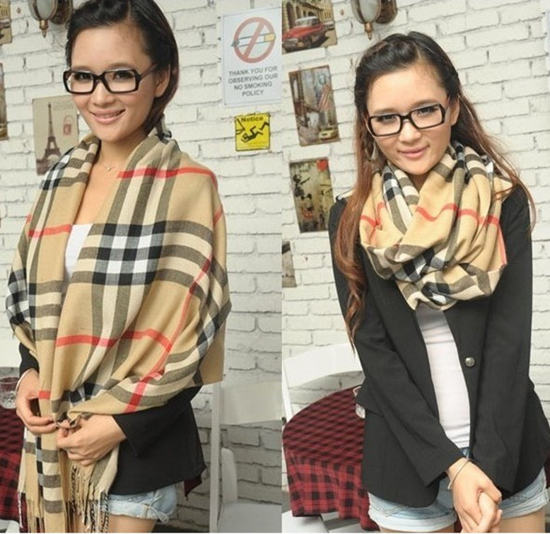 2013 Classic Women's PLAID Print Pashmina Scarf Female Wrap Shawl Cape Cashmere 200*60cm High Quality Wholsale Free Shipping(China (Mainland))