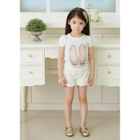 2013 Free shipping Girl baby summer suit kids short sleeve t-shirt + short pants  clothing set girls Lace Rose suit (GDT-218-2)