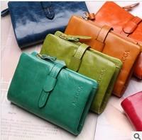 oil wax cowhide Women wallet genuine leather women three-fold short design wallets fashion women's drawstring purse