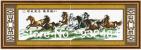 Free Shipping!100% Handmade Cross Stitch Eight Horses Gallop. Finished Products. Without Frame.