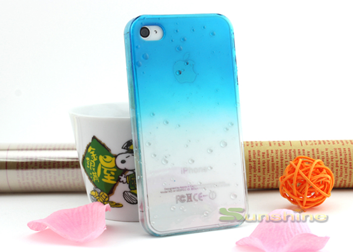 Freeshipping 3D Water Drop Dripping Gradual change Ultra Thin Hard Case Cover For iPhone 4 ,4S(China (Mainland))
