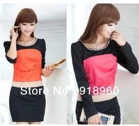 2014 New women's Dress/Fashion chain collar design patchwork colors corrugation chest design slim OL dress 3 colors/WTJ