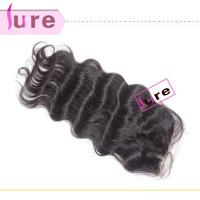 Brazilian/Peruvian human virgin hair  top free part 4*4 lace closure ,Queen hair products loose wave weave cheap swiss closure