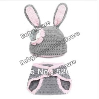 Wholesale New Cute Infant Hats Set/Baby Rabbit Pattern Animal Wool Knit Cap Suit Headwear Beanies with Pants Sets Gray 18009