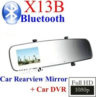 "FreeShipping NEW!! Full HD 1080P Novatek X13 with Bluetooth Rearview Mirror Car DVR Recorder   2.5""LCD 5MP Built-in G-Sensor"