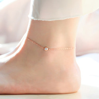Top Quality 18KGP Rose Gold Plated Titanium Steel Rhinestone Anklet Women's Fashion Brand Jewelry Free Shipping (GA021)