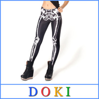 Digital Printing Skeleton Leggings For Women Autumn Elastic Leather Skull Legging